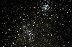 페르세우스 이중성단.. 페르세우스 자리에 있는 2개의 산개성단인데, 가까이 있어 망원경으로 보면 2개의 산개성단이 한 시야에 보인다. 가을철 대표적인 관측 대상