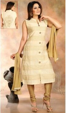 Beige Color Cotton Silk Designer Party Wear Ready Made Churidar Suits wits…