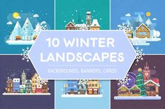 Winter Backgrounds and Landscapes by krugli on @creativemarket