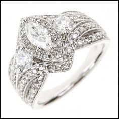 Earnest 8 Prong Diamond Ring Vvs1 1.43 Ct 18 Karat White Gold Channel Set Anniversary Fine Jewelry