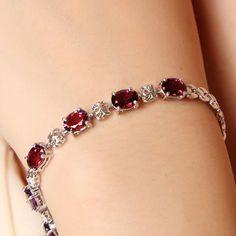 Luxurious natural garnet bracelet high quality 925 Solid Sterling Silver 6 ct garnet silver bracelet garnet stone woman jewelry