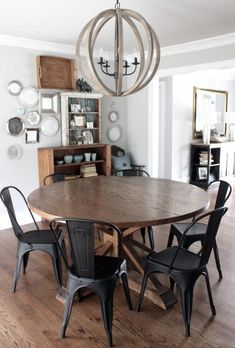 Farmhouse table with metal chairs. Table custom made by Josh Butler. Farmhouse table with metal chairs. Table custom made by Josh Butler. Eat In Kitchen Table, Kitchen Table Makeover, Dining Room Table, Kitchen Decor, Metal Kitchen Chairs, Metal Farmhouse Chairs, Farmhouse Furniture, Table Bench, Kitchen Table Light