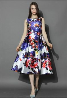 Watercolor Floral Prom Dress