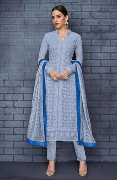 Online Fashion Shopping Store for Embroidered Chikankari Straight Blue Kurta & Bottom With Dupatta, Ethnic Wear, Party Wear Kurtis & Gowns. Embroidered Chikankari Straight Blue Kurta & Bottom With Dupatta Buy Online with secure payment gateway from India. Indian Dresses, Indian Outfits, Pakistani Outfits, Churidar Suits, Salwar Kameez, Anarkali Suits, Salwar Dress, Punjabi Dress, Straight Cut Pants