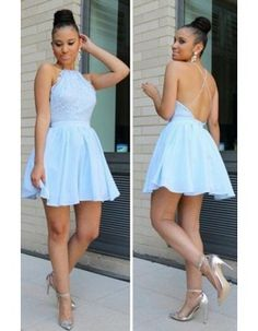 Chic Sleeveless Halter Neck Blue Chiffon Homecoming Dress