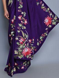 Deep Purple Georgette Satin HK Chrysanthemum Embroidered Saree by Ashdeen