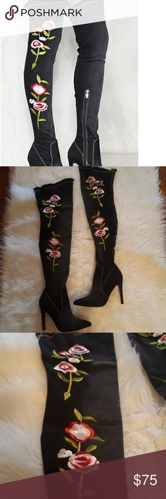"Flower Up Knee High Boots New with box! Features a denim inspired construction, over-the-knee design, raw hem, pointed toe, stiletto hrel, contrast stitching and floral appliques at side. Size 7 however run and fit as a 6.5! Listed as a 6.5 for this reason! Purchased from Nasty Gal by Sergio Todzi Heel height 3.3"" Total height 18.6""  Offers welcome! Nasty Gal Shoes Over the Knee Boots"