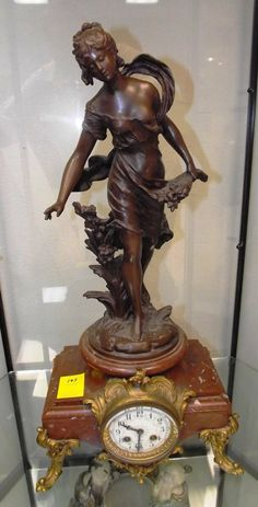 """Bronze Statue on Marble Base Clock  """"Reims"""""""