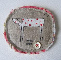Handmade Brooch Doggy Love by hensteeth on Etsy, $19.00