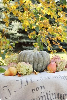 pears, flowers and a pumpkin for fall decor