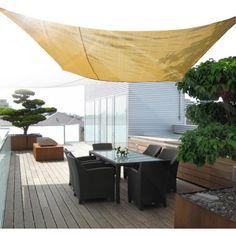 Buy Square Sun Sail Shade Garden Shade Awning With Free Ropes 3.6m Sand |Homcom