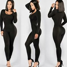 3aff46e4ec7 Buy Sexy Black Overalls Long Sleeve Bodycon Jumpsuits Ladies Elegant Romper  Plus Size Women Bodysuits Simple Fashion New Arrival at Wish - Shopping  Made Fun