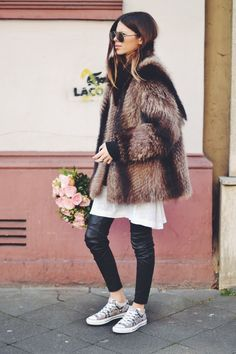 Fur, leather pants and sneaks
