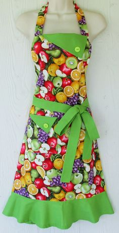 Colorful Fruit Apron, Women's Full Apron, Vintage Style, Retro Apron, KitschNStyle by KitschNStyle on Etsy