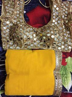 Yellow saree golden mirror wrk blouse