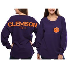 Women's Clemson Tigers Purple Pom Pom Jersey Oversized Long Sleeve T-Shirt. Not a big fan of orange so I really love when they have sports tees predominantly the secondary team color :D