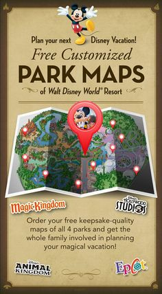 Plan your next Disney Vacation! Click the image to create FREE customized Park Maps of Walt Disney World Resort!