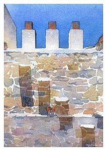 greek wall by Thomas W. Schaller Watercolor ~ 11 inches x 8.5 inches