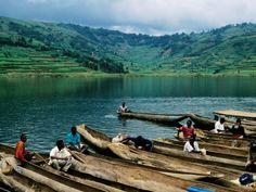 Villagers in Dugout Canoes at Market, Lake Bunyonyi, Kabale, Uganda