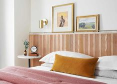 Malcolm's Wood And Marble DIY Headboard Tutorial: How He Executed It To Feel Timely, Classic, And So Unique - Emily Henderson #DIY #bedroomdecor #beforeandafter #homedesign Marble Shelf, Decorative Mouldings, Dining Nook, Do It Yourself Projects, Tambour, Modern Bedroom, Master Bedroom, Upholstery, Design Inspiration
