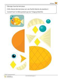 Ce document est un petit exercice où l'élève doit découper et coller les morceaux du poisson afin de le reconstituer comme sur le modèle présenté. Cet exercice permet de travailler la dextérité fine ainsi que la logique. Ce document comprend une page. 1er cycle,1ère année,2e année,animaux,Arts plastiques,Caroline B.,Compréhension du monde,évaluation,exercice,Lettre,Mathématiques,Nouveautés,Passe-temps,Préscolaire,préscolaire,simple Glue Crafts, Paper Crafts, Preschool Activities, Activities For Kids, Farm Animals Preschool, Animal Cutouts, Barbie Coloring Pages, Simple Collage, Quiet Book Templates