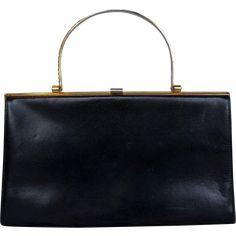 500c470f17 Lumos London Black Leather Handbag Brass Handle Vintage Purses, Vintage Bags,  50 Off Sale