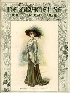 [De Gracieuse] Wandelpak van donkerbruin laken met lichtkleurigen mantel (April 1909)