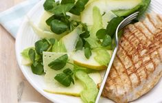 Pecorino, pear and watercress salad with chargrilled turkey breasts