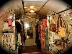 for Ari- Vagabond Van mobile shop interior. Mobile Boutique, Mobile Shop, Vintage Campers, Vintage Trailers, Caravan Shop, Camper Store, Mobile Business, Old Country Stores, Craft Show Displays