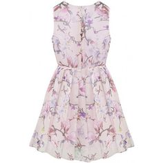 LUCLUC Pink Floral Print Sleeveless Skater Dress (725 ARS) ❤ liked on Polyvore featuring dresses, vestidos, pink sleeveless dress, floral printed dress, skater dresses, flower printed dress and floral pattern dress