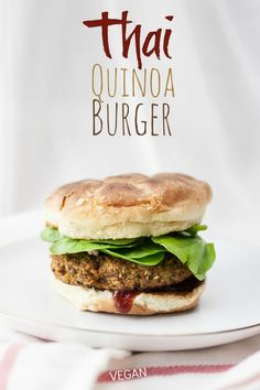 Thai Quinoa Burgers: produce on parade an easy Thai-influenced vegan veggie burger that stays together, bakes up nice and crispy, and packs a big protein punch.