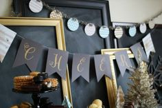 black banner with Gold Glitter letters- great for New Years or a sparkly party