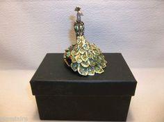 Vintage PEACOCK Trinket Box Embellished With Swarovski Crystals