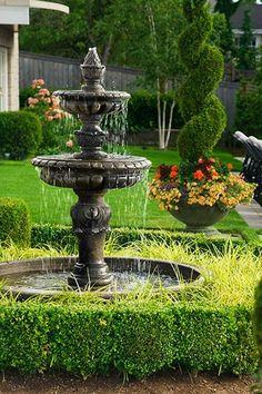 2-tiered garden fountain