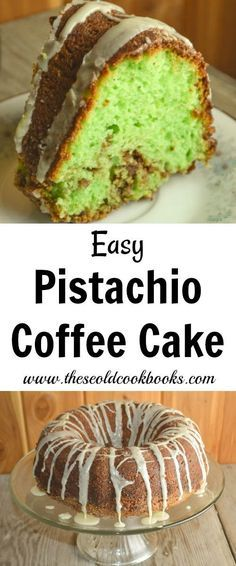 This easy-to-make Pistachio Coffee Cake is not only delicious but is also pleasing to the eye with its bright green inside. What a perfect choice for Christmas morning breakfast!