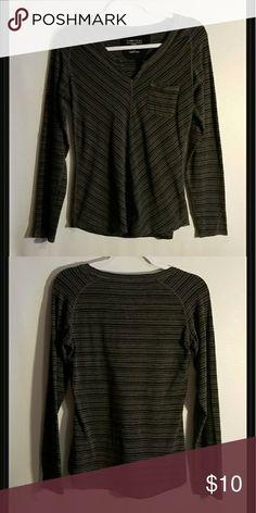 Exofficio long sleeve shirt Exofficio black & gray stripped shirt  62% polyester  33% cotton  5%  spandex Exofficio Tops Tees - Long Sleeve