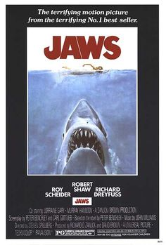 Jaws (1975)  When a gigantic great white shark begins to menace the small island community of Amity, a police chief, a marine scientist and grizzled fisherman set out to stop it.