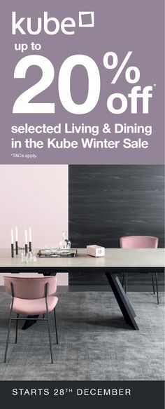 Up to off selected Living and Dining in the Kube Winter Sale. Dining Set, Dining Bench, Winter Sale, Dining Room Furniture, Bar Stools, Ireland, Living Spaces, Celebration, Range