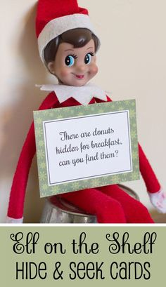 Free Printable Elf on the Shelf Hide and Seek Cards