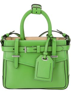 Green calf leather 'Boxer' micro bag from Reed Krakoff featuring twin top handles with buckle tab, front flap pocket with press stud closure, a buckle front, slip pocket to the rear, an interior slip pocket and a detachable cross body strap.