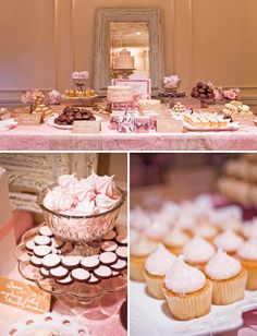 Girly birthday party dessert table with a mirror.