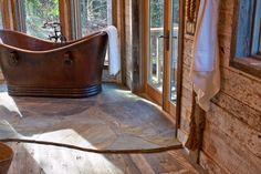 Rustic Bathrooms, Hardwood Floors, Cozy, Cabin, Antiques, Building, Crafts, Bedroom Ideas, Wood Floor Tiles