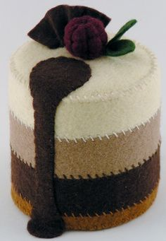 Felt Food Triple Chocolate Mousse Cake WOOL by ThePixiePalace