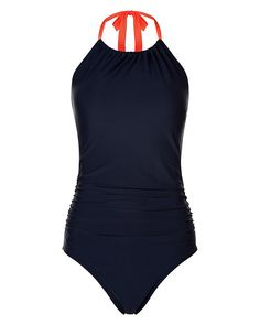 Technical meets beautiful in this streamlined one piece with fluoro straps and flattering ruching. Crafted in durable chlorine-resistant fabric that maintains its colour despite the pool and sun, this modest cut swimsuit has a mid rise and high neck.