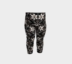 Black with White Flower Baby Youth Leggings, Baby Leggings by Brittany Bonnell. Artwork in baby friendly sizes on our printed leggings for your little ones. Shop Art, Baby Leggings, Design Lab, Printed Leggings, Knitted Fabric, Brittany, White Flowers, Youth, Sweatpants