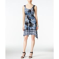 Style & Co. Printed Handkerchief-Hem Dress, ($24) ❤ liked on Polyvore featuring dresses, summer palms, handkerchief hem dress, handkerchief dress, palm leaf print dress, palm dress and white dress