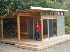 Deck - outdoor working area with cover. Shed DIY - This Vashon Island client works from homt at his Modern-Shed home office with a deck. Now You Can Build ANY Shed In A Weekend Even If You've Zero Woodworking Experience! Shed Office, Backyard Office, Backyard Studio, Backyard Sheds, Outdoor Sheds, Outdoor Office, Backyard Buildings, Backyard Bar, Large Backyard