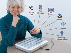Medication Dispenser (UK) by MedMinder Systems Inc.. MedMinder Automatic Pill Dispenser. Never forget your medications or double dose again! Multiple reminders for users and notifications for caregivers/family members. Enjoy Peace of Mind with our Medication Dispenser and Medication Management Service. Learn more about MedMinder at http://www.medminder.com