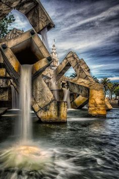 Vaillancourt Fountain by Canadian Armand Vaillancourt who was awarded the commission after a very competitive process. Water feature reduced Nimitz freeway noise before the earthquake collapsed the double bridge. Justin Herman Plaza, San Francisco