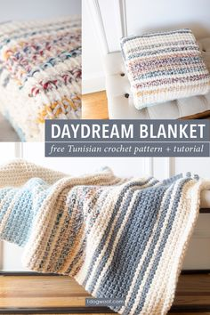 Simple striped Tunisian crochet blanket, evoking cloudy days by the coast. There… Simple striped Tunisian crochet blanket, evoking cloudy days Crochet Afghans, Crochet Borders For Blankets, Tunisian Crochet Blanket, Tunisian Crochet Patterns, Knit Crochet, Modern Crochet Blanket, Striped Crochet Blanket, Modern Crochet Patterns, Chunky Crochet Blankets